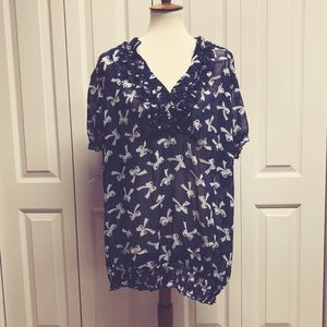 Pure Energy 2xl sheer blouse blue with bows